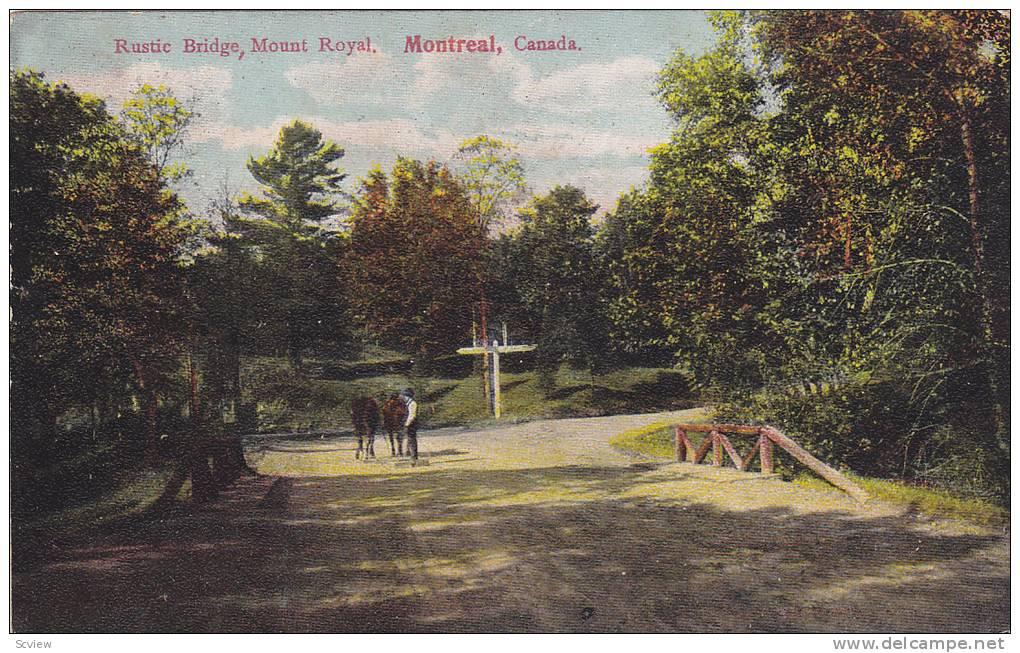 Rustic Bridge, Mount Royal, Montreal, Quebec, Canada, 1900-1910s - Montreal