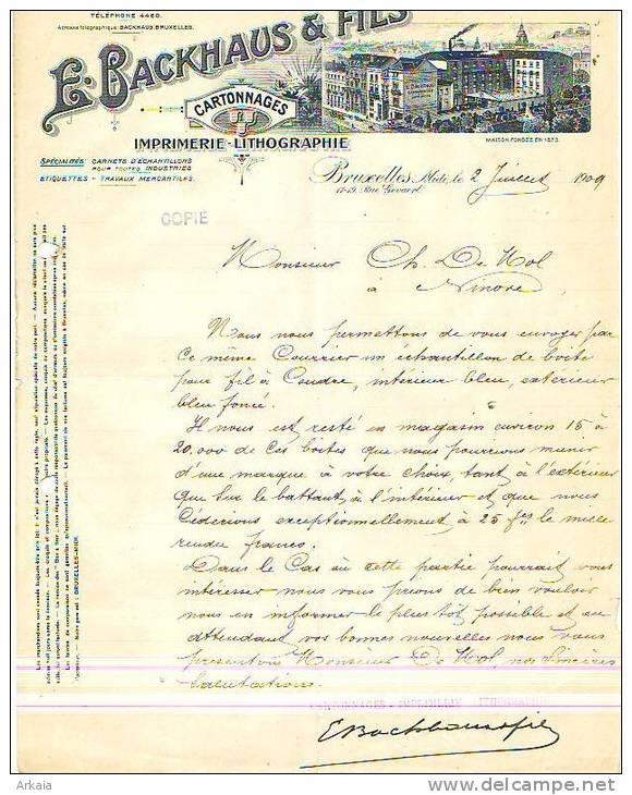Bruxelles - 1909 - E. Backhaus & Fils - Imprimerie-lithographie - Imprimerie & Papeterie