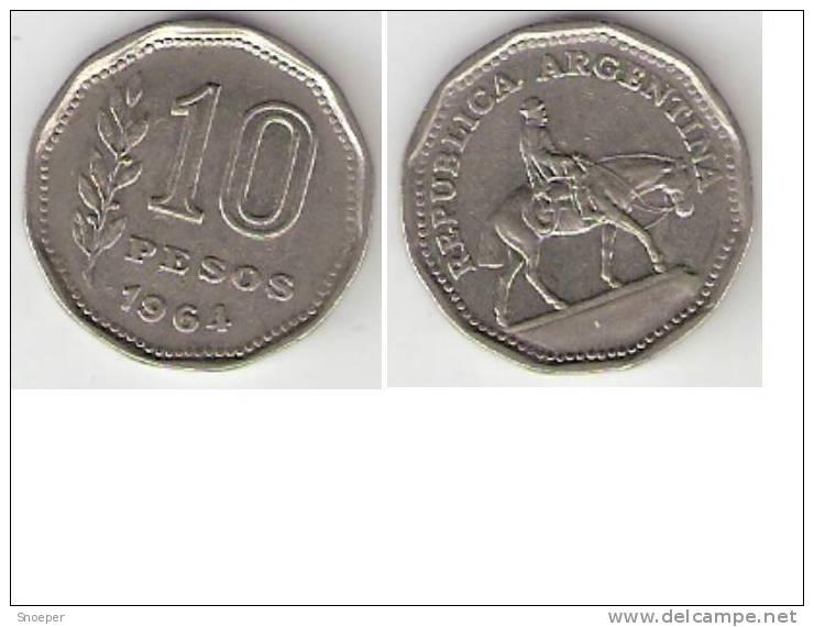 *argentina,10 Pesos 1964 Km 60  Xf+   * - Argentine