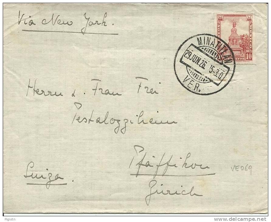 VE069 - LETTERA DA MINATITLAN PER LA SVIZZERA - 29.6.1926 - ISOLATO - Messico