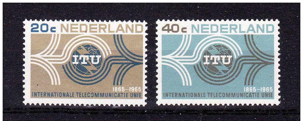 NETHERLANDS  1965 ,  I T U  Centenary  ,  Y&T #  814 / 15  , Cv  1,00 E ,  ** M N H , V V F - Periodo 1949 - 1980 (Giuliana)