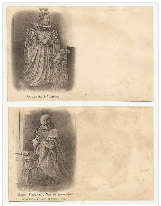 60 Liancourt. Lot De 2 Cartes Précurseurs : Jeanne De Schomberg / Roger Duplessis Fondateurs De L'hospice (1123) - Liancourt