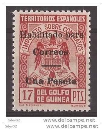 GUI259J-L3815TESO.Guinee GUINEA ESPAÑOLA SELLOS FISCALES 1939/41.(Ed  259J**).sin Charnela.LUJO RARO - Sellos