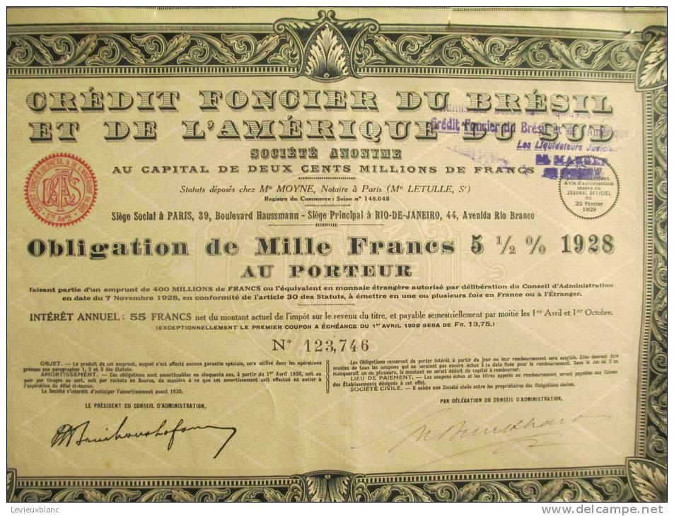 Crédit Foncier Du Brésil Et De L'Amérique Du Sud/Obligation De1 000 Frs/BRESIL/1929     ACT30 - Banque & Assurance