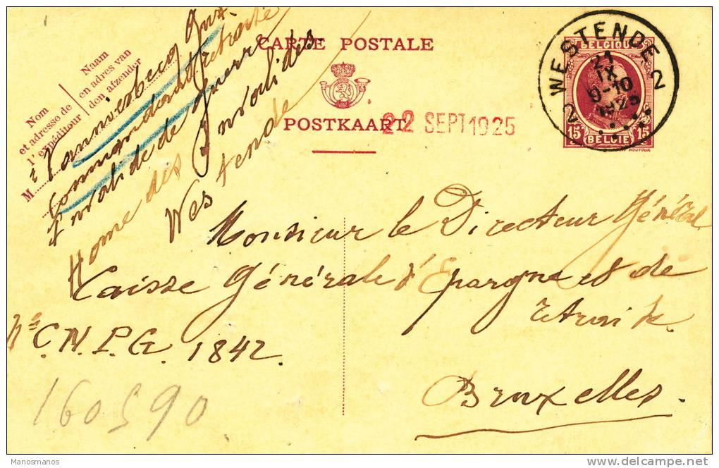 544/20 - Cote Belg. Kust - Entier Houyoux Cachet 28 Mm WESTENDE 2 En 1925 - 1922-1927 Houyoux