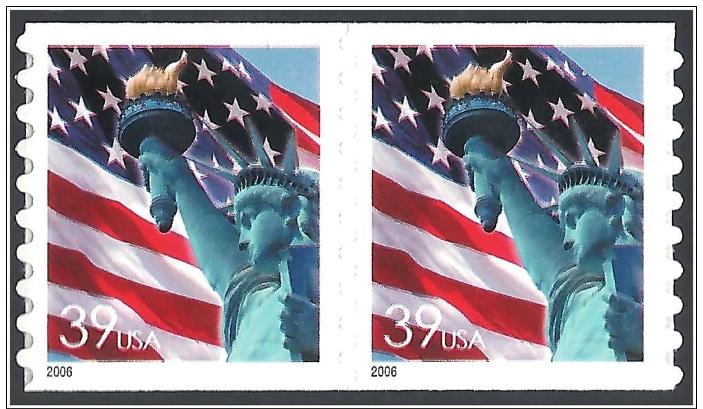 U.S. 2006. Scott.N°3983, Coil Pair. MNH (**) LADY & LIBERTY FLAG - Etats-Unis