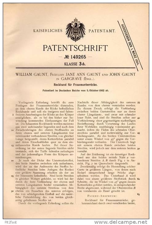Original Patentschrift - W. Gaunt In Gargrave , England , 1902 , Rockbund Für Frauenrock , Rock , Kleid !!! - Vintage Clothes & Linen