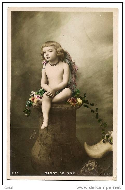 SABOT DE NOEL - Ange Angel  Chérubin - Fleurs Carte Colorisée Et Rehauts Dorés Peints à La Main - Carte Vierge - Anges