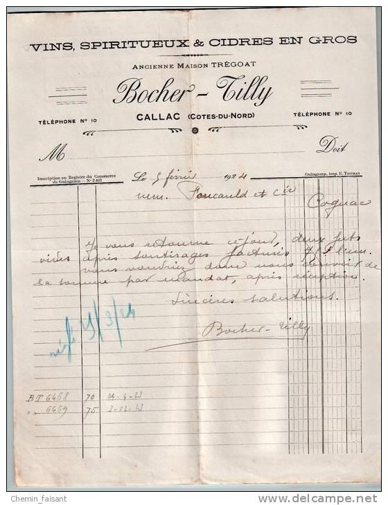 Entête Du 05/02/1924 BOCHER-TILLY Vins Spiritueux Cidres - Callac - Côtes-du-Nord - Food