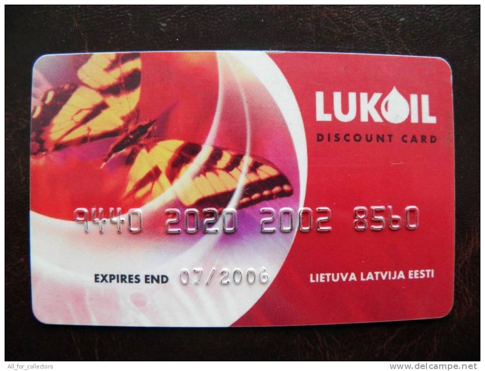 Plastic Card From Lithuania, Discount In Lukoil Petroil Station, Butterfly - Other Collections