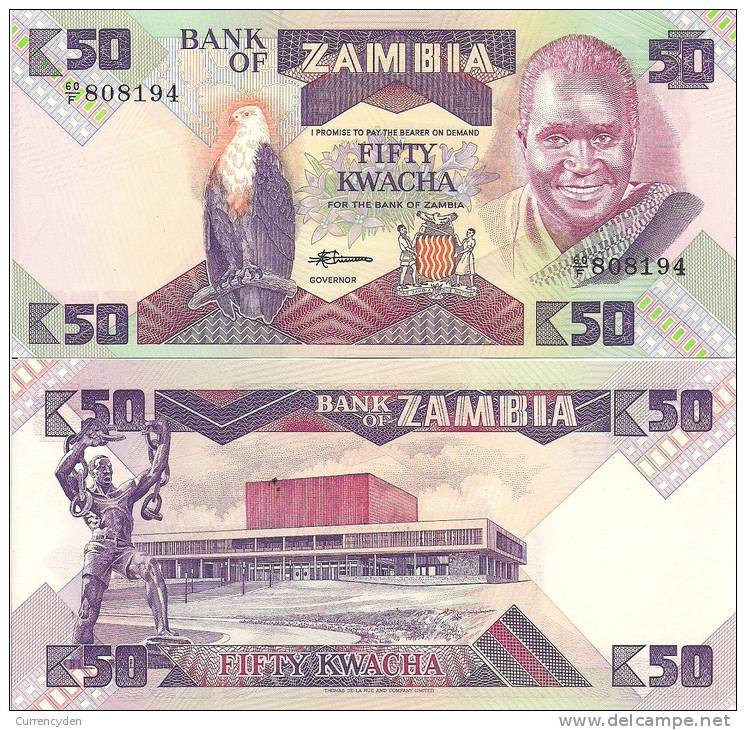 Zambia P-28a, 50 Kwacha, Eagle / Slave Breaking Chains $45 CV! - Zambie