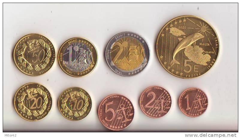 Malta-Malte-2004-Prova Euro-9 Valori-Try Euro-Test Euro - EURO