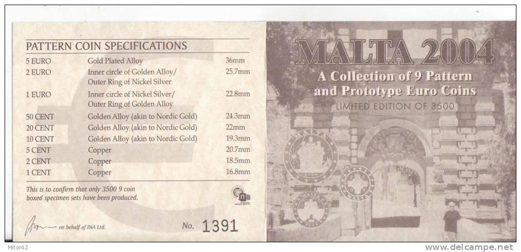 Malta-Malte-2004-Prova Euro-9 Valori-Try Euro-Test Euro - Essais Privés / Non-officiels