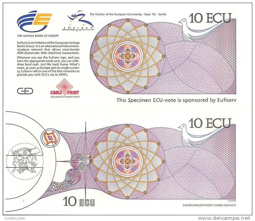 Test Note - CP-121, 10 Ecu, Expo Money- Sevillle Spain - [ 8] Fictifs & Specimens