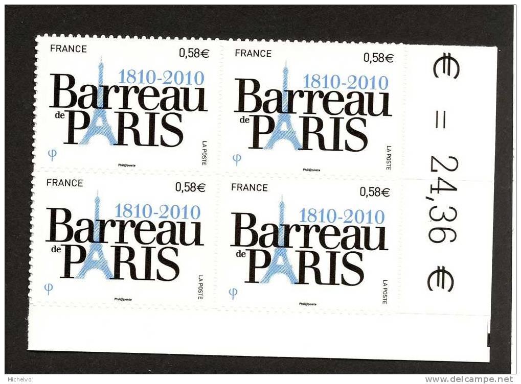 France 2010 - Yv N° 508 ** - Barreau De Paris (AUTOADHESIF) - France