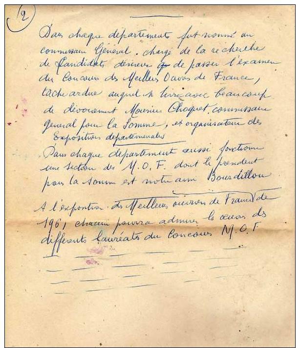 Ecrits Manuscrits De Jean Sgard Maître Graveur à Abbeville (Somme) Sur Le Concours Des Meilleurs Ouvriers De France. - Vieux Papiers