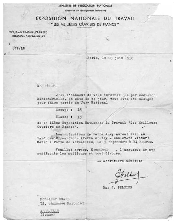 Lettre De La Secrétaire Générale De L'Exposition Nationale Du Travail Adressée à Jean Sgard Maître Graveur à Abbeville ( - Vieux Papiers