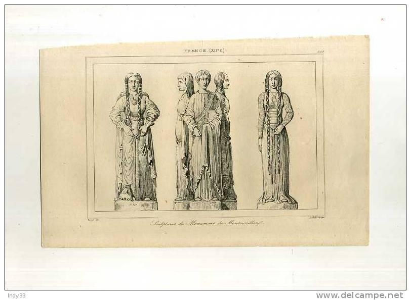 - FRANCE .SCULPTURES DU MONUMENT DE MONTMORILLON . GRAVURE SUR ACIER DU XIXe S. - Esculturas