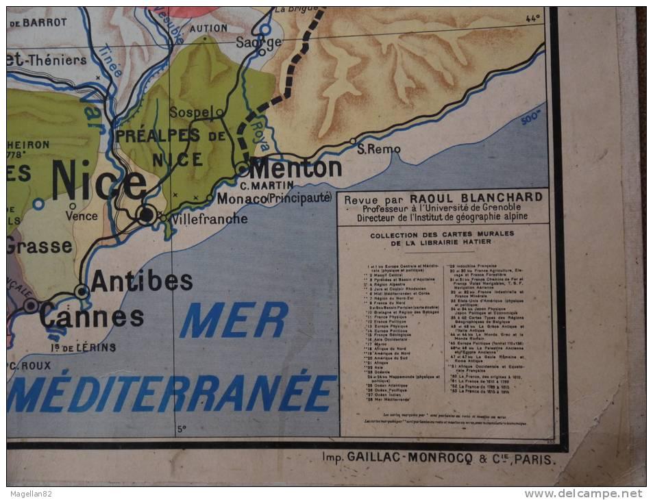 Ancienne carte g ographique n0 4 les r gions naturelles de la france par pa - Carte murale scolaire ancienne ...
