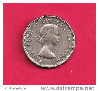 CANADA 1957, Circulated Coin, XF, 5 Cent QE II  Nickel , Km 50a, C90.031 - Canada