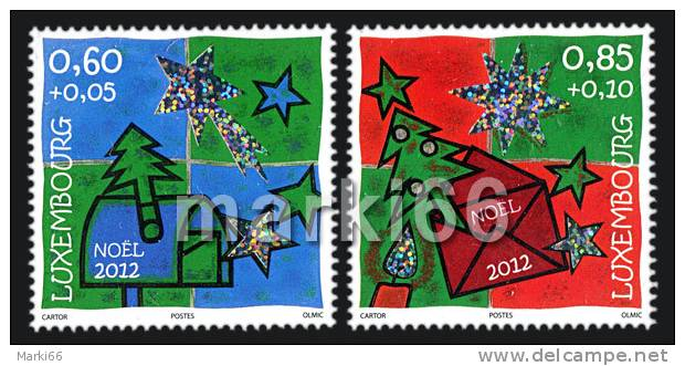 Luxembourg - 2012 - Christmas - Mint Stamp Set With Holographic Print - Unused Stamps
