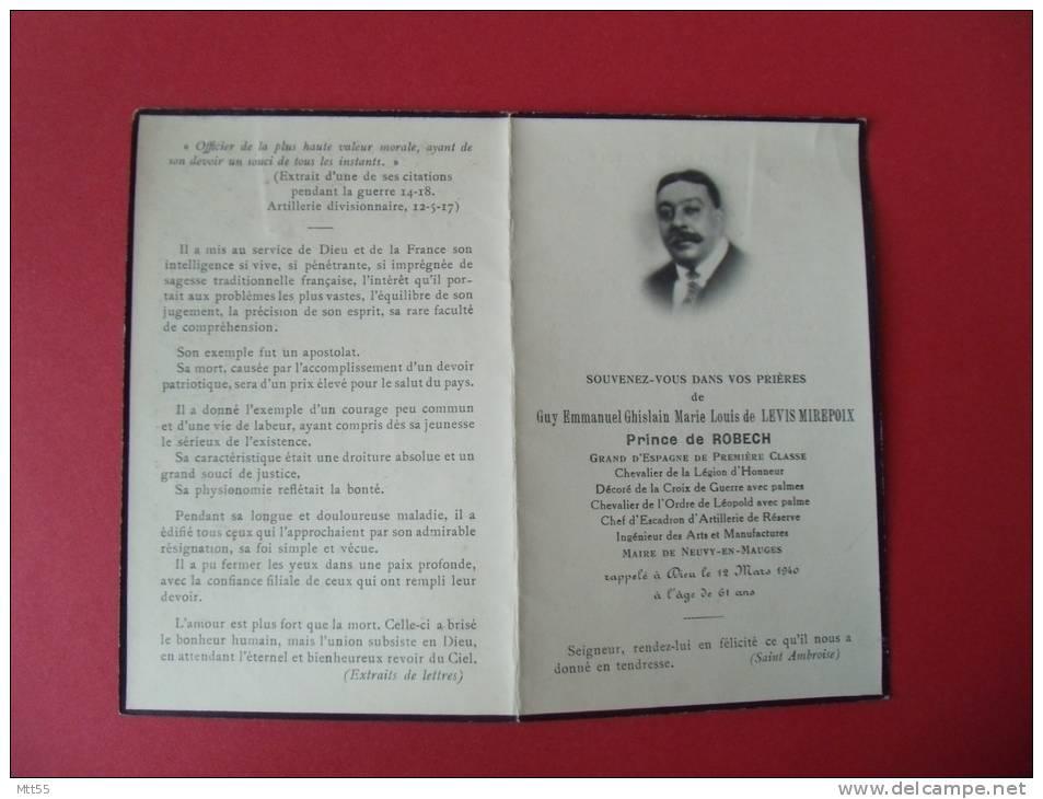 Image Pieuse Deces Prince De Robech Guy Emmanuel Levis Mirepoix Grand Espagne Legion Honneur - Devotion Images