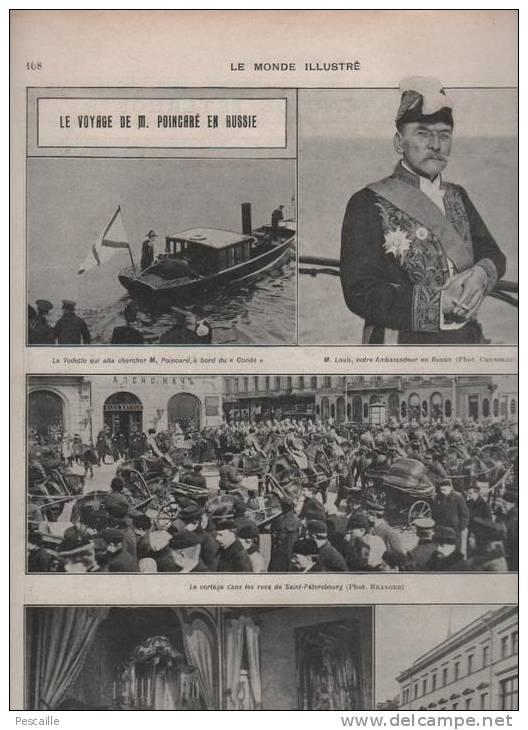 LE MONDE ILLUSTRE 17 08 1912 - MASSENET - POINCARE RUSSIE - ANVERS - SOLDATS MAROC - MUSEE CRIMINEL - THEATRE ORANGE - Journaux - Quotidiens