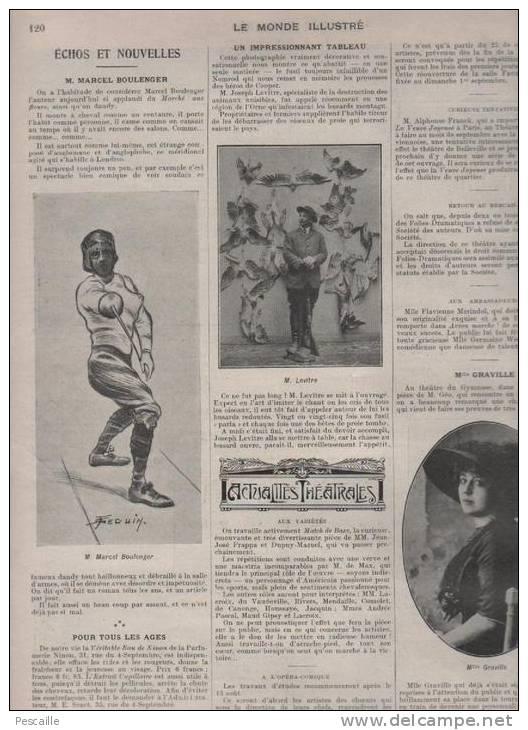 LE MONDE ILLUSTRE 17 08 1912 - MASSENET - POINCARE RUSSIE - ANVERS - SOLDATS MAROC - MUSEE CRIMINEL - THEATRE ORANGE - Zeitungen