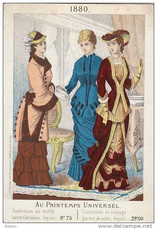 Grand Chromo Mode Robe Chapeau Au Printemps Universel 1880 Litho Fuytynck Bajart Bruxelles - Autres