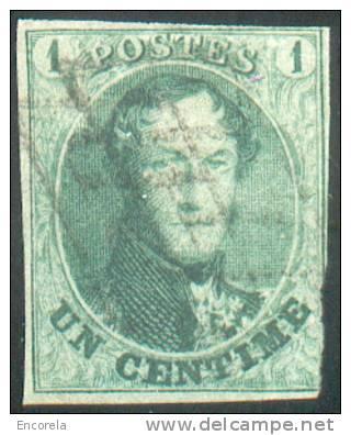 N°9 - Médaillon 1 Centime Vert, Touché En Bas à Droite Sinon Margé, Oblitération Anormale Double Grille Croisée.  Rare. - 1858-1862 Médaillons (9/12)