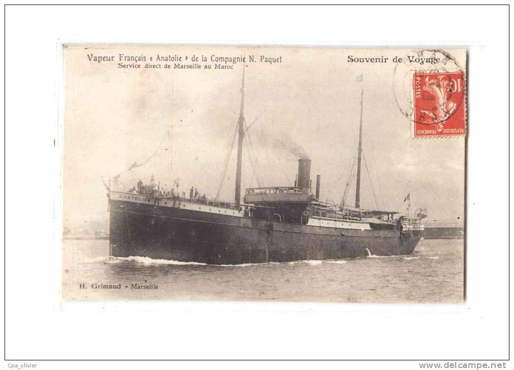 13 MARSEILLE Port, Paquebot Anatolie, Compagnie Paquet, Service Marseille Maroc, Ed Grimaud, 1909 - Vieux Port, Saint Victor, Le Panier