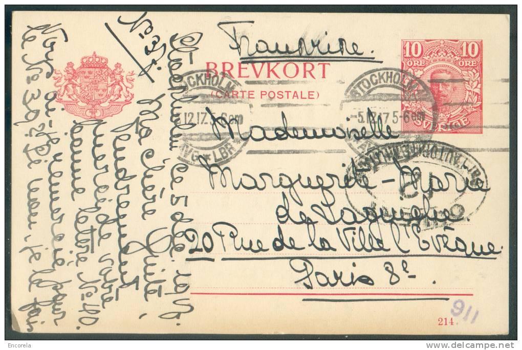 EP Carte 10 öre Obl. Mécanique STOCKHOLM Du 5-12-1917 Vers Paris + Censure OUVERT PAR L´AUTORITE MILITAIRE/12 - 8621 - Ganzsachen