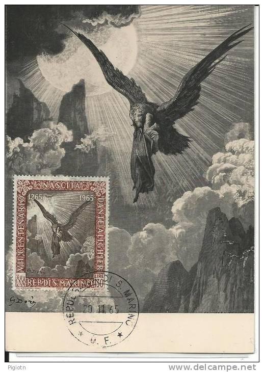 MX075 -4 MAXIMUM CARD SAN MARINO 1965 - DANTE ALIGHIERI - FDC