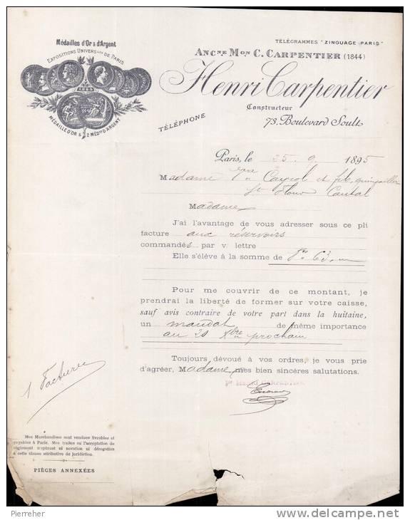 HENRI CARPENTIER , CONSTRUCTEUR A PARIS /  FACTURE DATEE 1895 - France