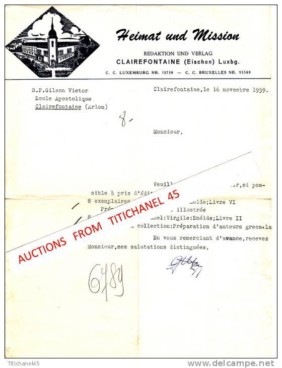 Lettre De 1959 - CLAIREFONTAINE - Ecole Apostolique - Heimat Und Mission - Luxemburgo