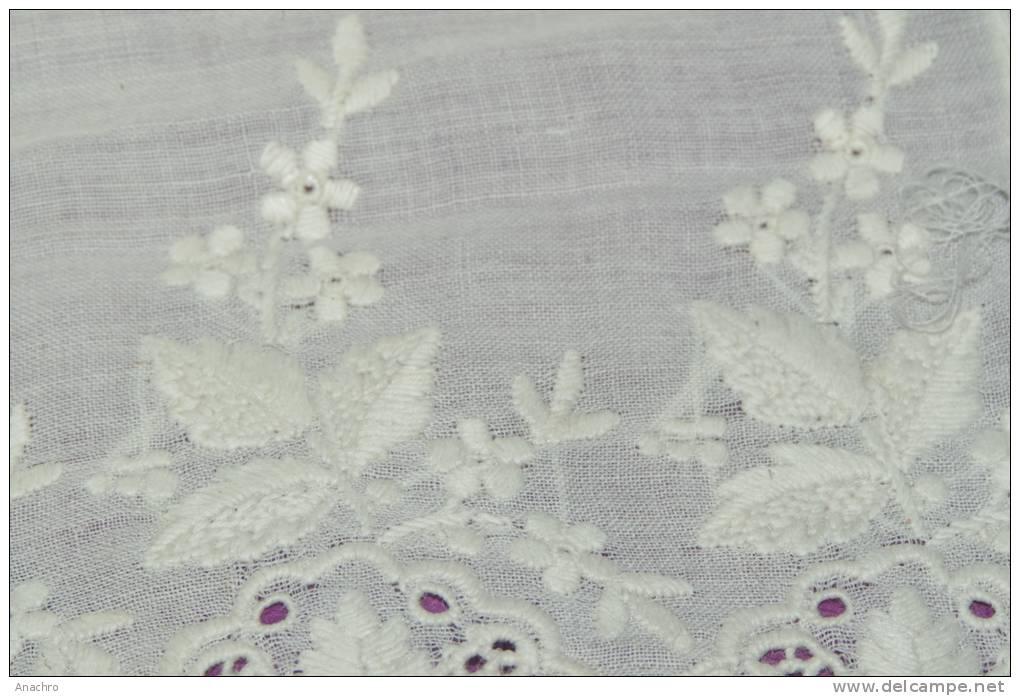 Etole ancien foulard brode dentelle coton m x 10 2 - Rideau coton blanc brode ...