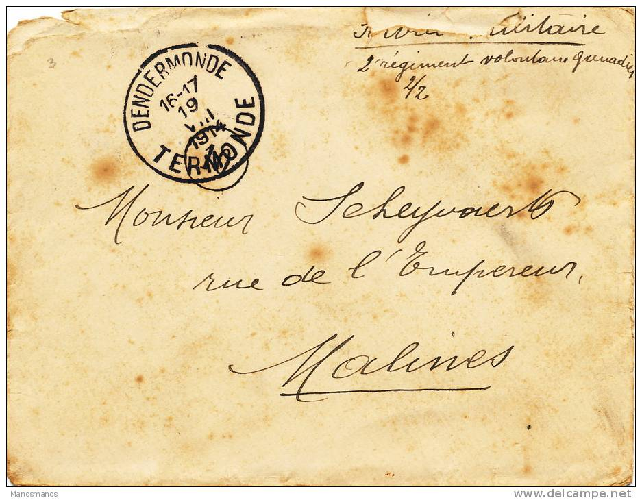 573/20 - PREMIER MOIS DE GUERRE - Lettre En S.M. DENDERMONDE19 VIII 14 Vers MALINES 22 VIII 14 - Invasion