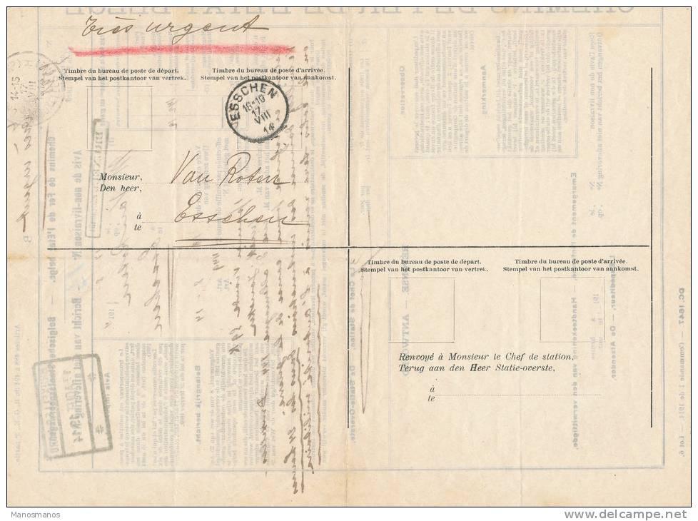 576/20 - PREMIER MOIS DE GUERRE - Document Chemins De Fer Gare BRUXELLES Nord 17 Aout 14 Vers ESSCHEN 17 VIII 14 - Invasion