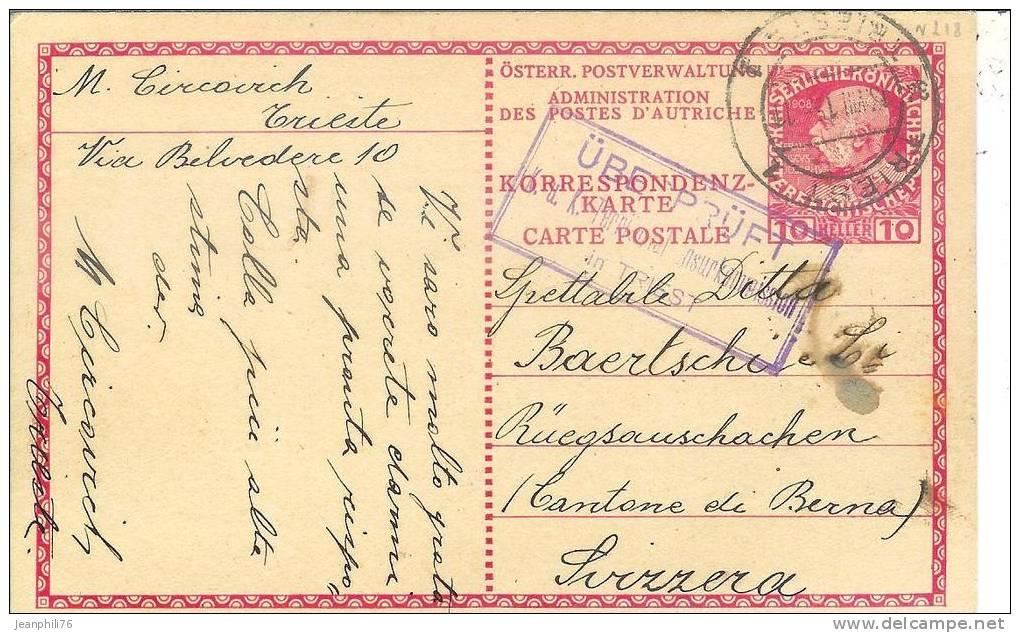 "Entier Postal Poste Autrichienne Au Levant ""überprüft / K.u.k.territorial Zensur Kommission In Triest"" - Covers & Documents"