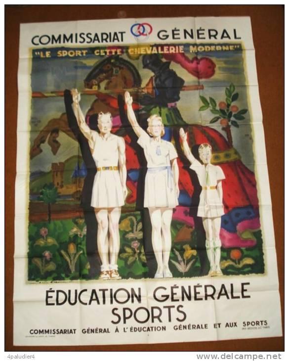 39-45 Affiche Originale Le SPORT CHEVALERIE MODERNE Jean-Adrien MERCIER 1940  Vichy - Affiches
