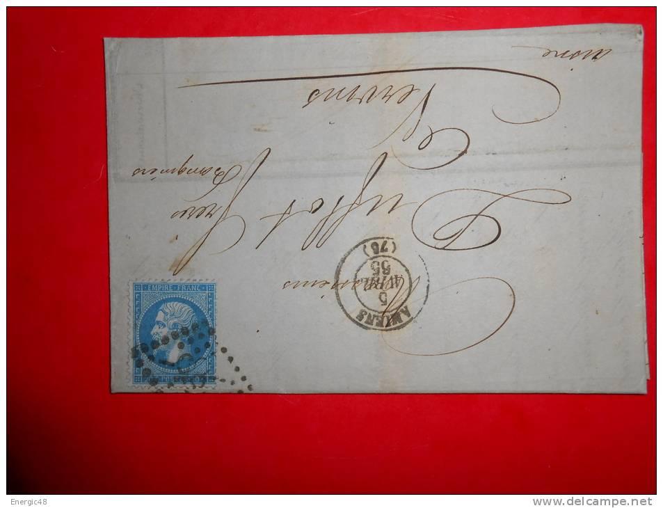 Lot.f 18;LAC De  AMIENS;cachet  Au Verso;nuance,variété A Etudier - 1862 Napoleone III