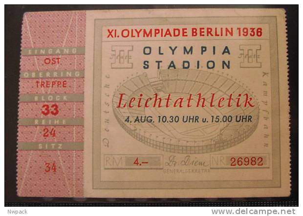 Olympic Games BERLIN 1936.   ATLETIC  - TICKET - Match Tickets