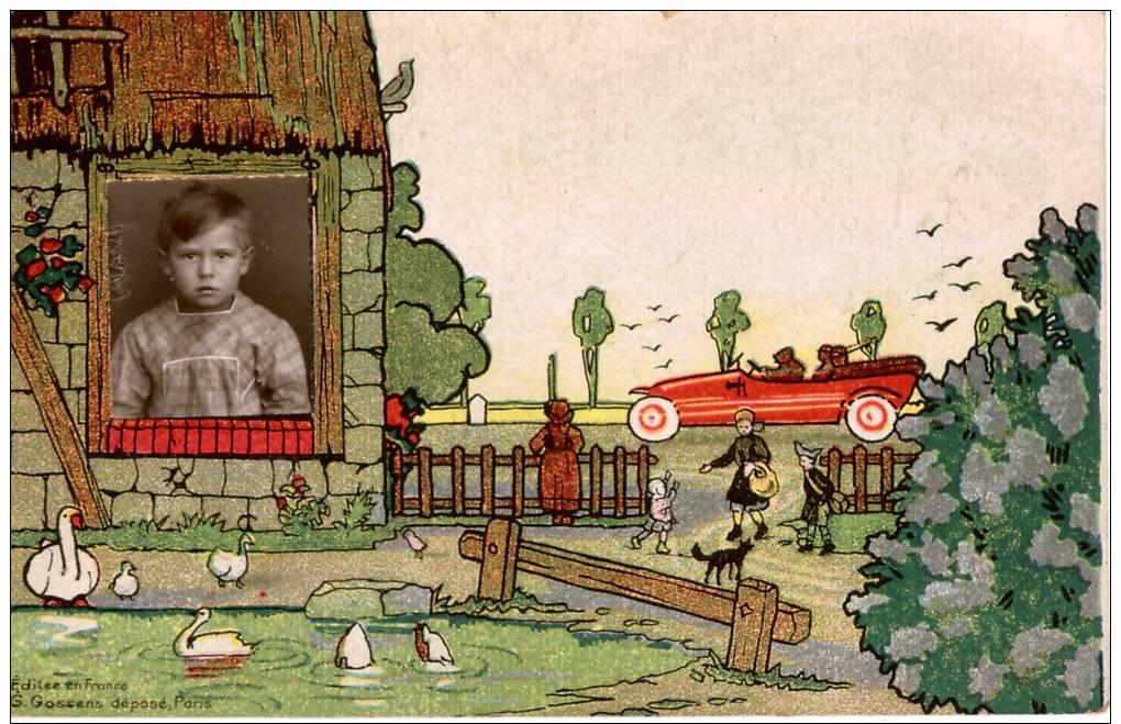 Carte-photo Scolaire, Montage , Petit Garçon à La Fenêtre Dans Un Décor De Bande Dessinée , Exemplaire Unique - Fotografie