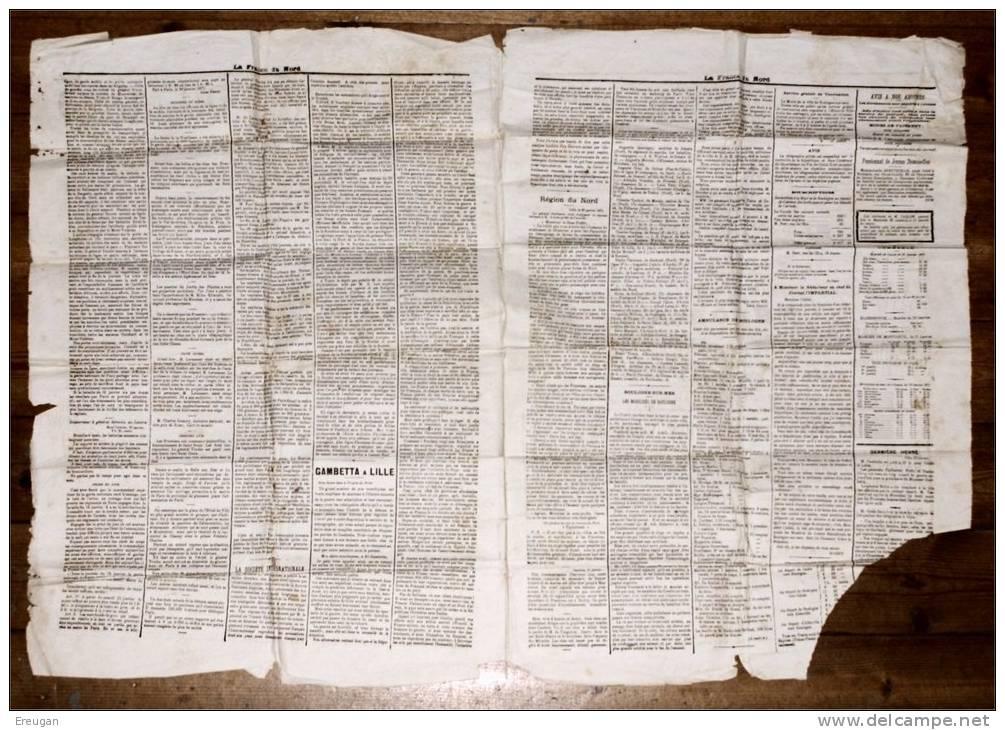 Cérès émission De Bordeaux  N°40B 2c Brun-rouge Report 2 Bon Sur Journal La France Du Nord Du 25-1-1871 Médiocre - 1870 Bordeaux Printing
