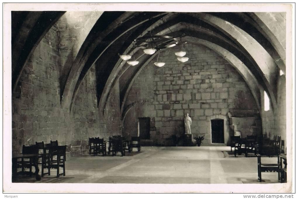 0849. Postal BARCELONA 1952 A Puigcerda (Gerona). Reexpedida. Monasterio Poblet - 1931-Hoy: 2ª República - ... Juan Carlos I