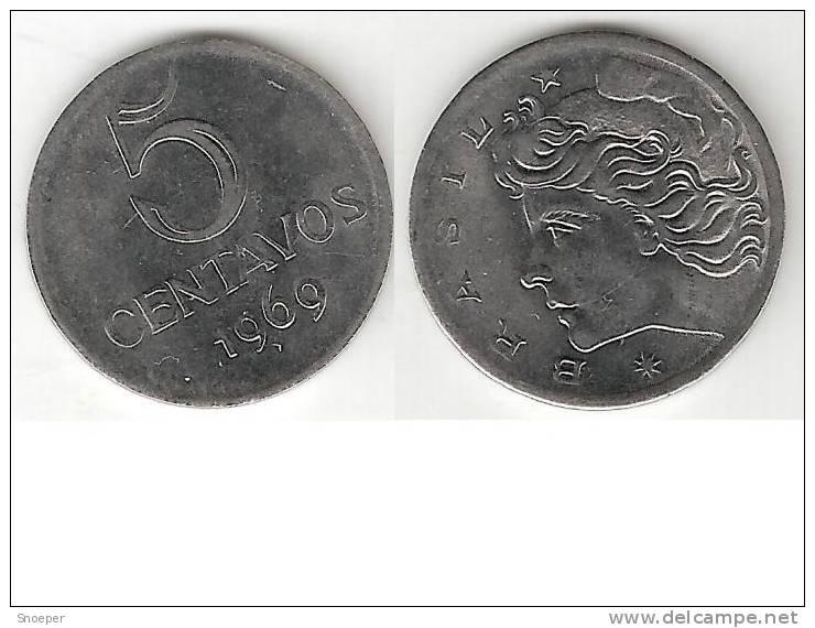 Brazil 5 Centavos 1969 Km 577.2   Unc !! * - Brésil
