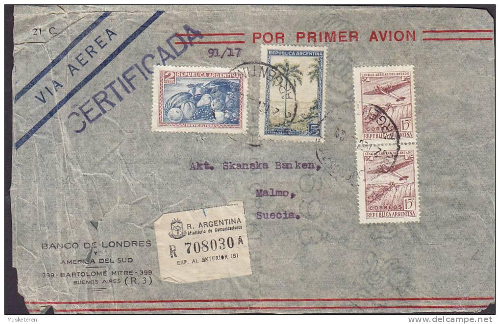 Argentina Airmail Via Aerea Registered Certificada BANCO DE LONDRES, BUENOS AIRES Cover Letra To Sweden Suecia (2 Scans) - Luftpost