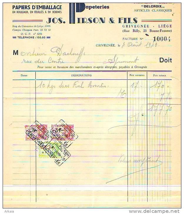 Grivegnée - 1943 - Jos. Pirson & Fils - Papeteries - Manufacture De Sacs En Tous Genres - Printing & Stationeries