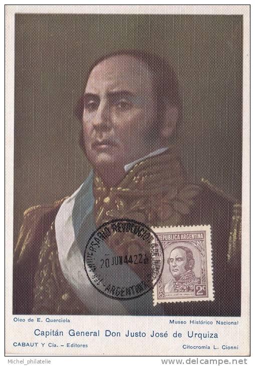 Carte Maximum  Capitain General Don Justo José De Urquiza - Argentinië