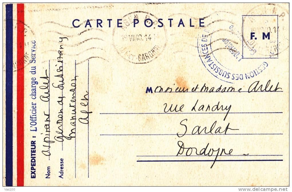 CARTE POSTALE F. M.,1940, L'OFFICIER CHARGE DU SERVICE - Covers & Documents